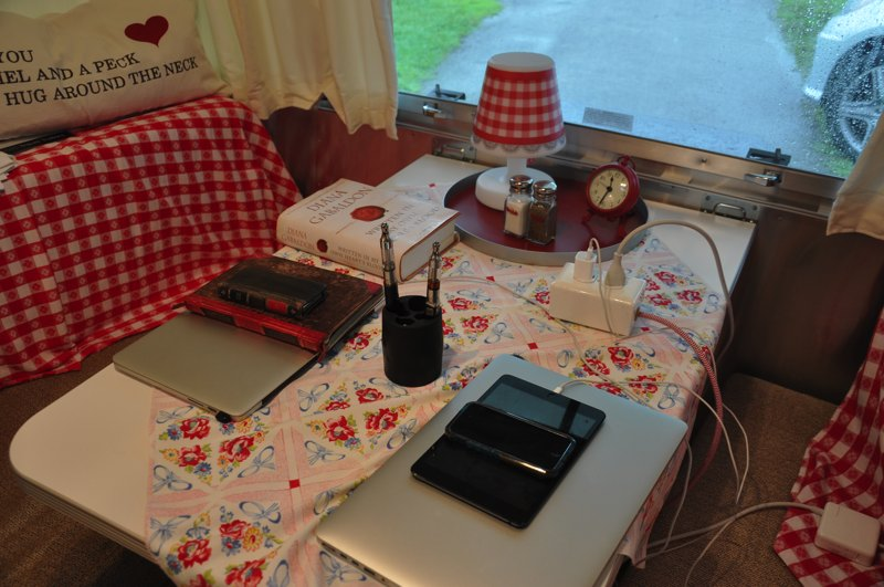 Our rainy day set-up…lots of reading to catch up on!