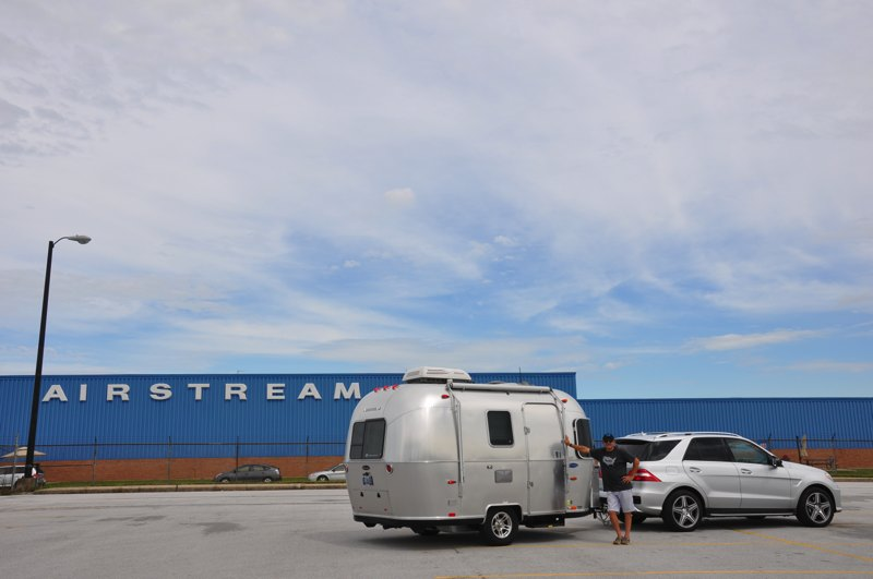 In front of the Airstream factory