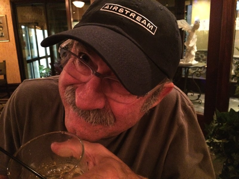 Bob in his Airstream cap, sipping a little Jack Daniel's