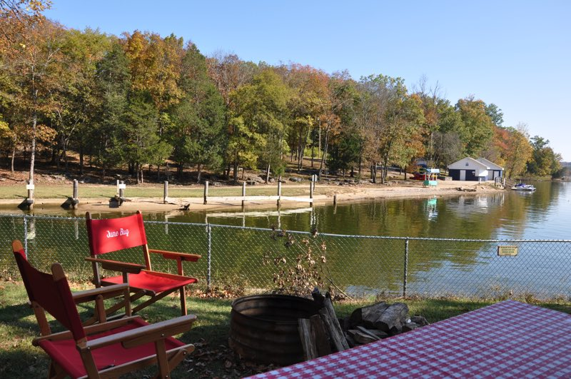 This campground would be lovely but for the chain link fence running along the lake