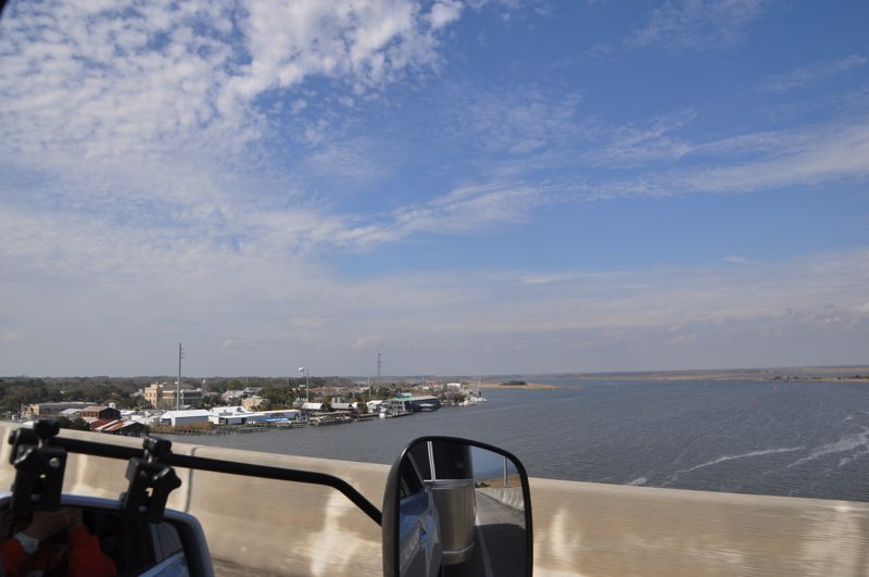 Driving across the bridge into Apalachicola