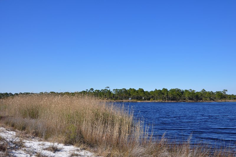 View from the dunes, across the lake to the campsites