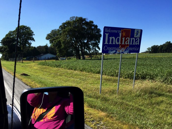Back Home Again in Indiana…we even had to buy sweatshirts IN AUGUST for the chilly ride home!