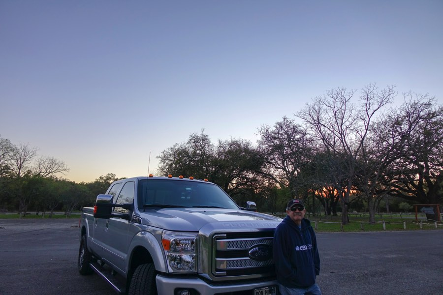 Hill Country sunset with my man and his truck]